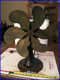 Antique Emerson Fan 6 Brass Blade 12 Model 71666 3-Speed Oscillating To Restore