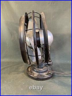 Antique Emerson Silver Swan Fan Works Vintage Art Deco Single Speed Fan