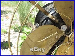 Antique Emerson c 1914 Brass Parker 4 Blade & Cage Fan 19648 3 Speed Unrestored