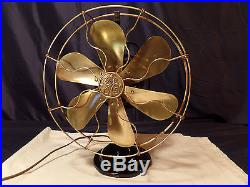 Antique Fan GE Electric SIX Brass Blade & Cage 12 inch, Oscillation, 1916 2 Star