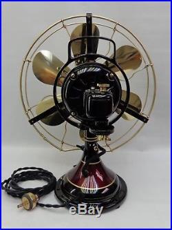 Antique GE 12 brass 6 blade fan Vintage 1916 Restored # 78777 painted stripe's