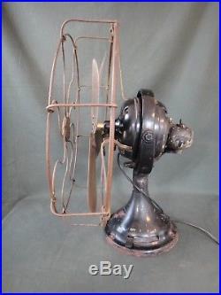 Antique GE 16 Brass Blade & Cage Kidney Fan Works & Oscillates w Pin Tilt