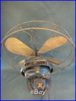 Antique GE Brass Blade & Brass Cage Fan Works General Electric Fan Type AO