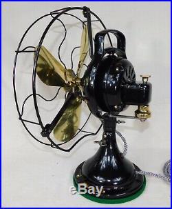 Antique GE Desk Fan. 12 Brass Blades. Beautiful 3 Speed Oscillator. Made 1924