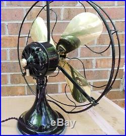 Antique GE Desk Fan. 16 Brass Blades. Fully Reworked. 1922, Cast Iron, Nice