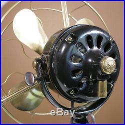 Antique GE Fan 12 brass blade + cage vintage 1911 painted stripe restored