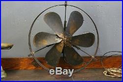 Antique GE General Electric 6 Brass Blade Fan 16 ceiling industrial vintage old