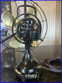 Antique GE Oscillating Fan. Just Reworked! Brass, Cast, 3 Speeds. Early 1920s