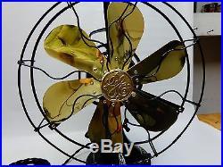 Antique GE brass 6 blade fan oscillating 2 star vintage 1916 painted pinstripe