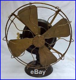 Antique GE brass blade/cage PANCAKE MOTOR old Edison-eraGENERAL ELECTRIC FAN