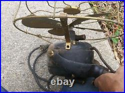 Antique GE table top fan 12 brass 4 blade NP 1901 dated, gimbal frame yoke