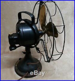 Antique Ge Electric Oscillating Brass Brass Blade Fan