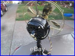 Antique Ge Fan Vintage Fan Brass Blade Brass Cage Stunning Hunter Badge Ge Fan