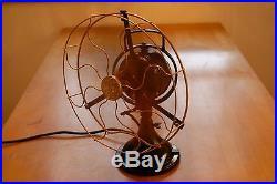 Antique General Electric 12 Brass Blade 3 Speed Oscillating Fan