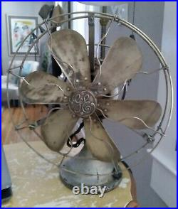 Antique General Electric 12 Star Oscillating Fan 6 Brass Blades and Guard 78777