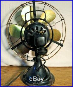 Antique General Electric Brass 6 Blade, Brass Cage Electric Fan, Works, 3 Speed