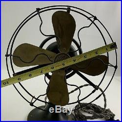 Antique General Electric Brass Blade DK Military Green Table Desk Fan 9 SS