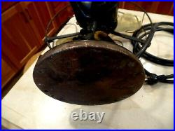 Antique General Electric Brass Blade Oscillating Electric Fan Excellent Cond