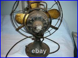 Antique General Electric GE 12 inch Brass Blade Fan no. 867351