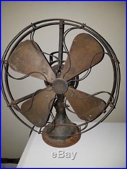 Antique General Electric GE 16 Square Brass Blade Fan 3 Speed HTF 25425 E125223