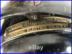 Antique General Electric GE KIDNEY Oscillating Fan 16 brass blades CAGE