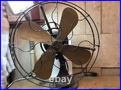 Antique General Electric Oscillating Fan Brass Blades T1 Type AO 1916 Works