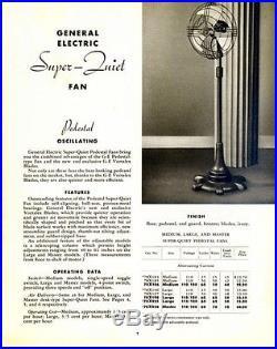 Antique General Electric Vortalex 18 Pedestal Oscillating Fan 1930's