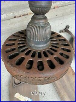 Antique General Electric ceiling fan cast iron oak leaf 1905