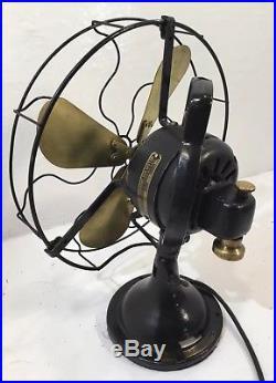 Antique Hunter Electric 12 Brass Blade 3 Speed Oscillating Desk Table Fan 1920