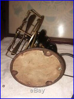 Antique MENOMINEE STAGHORN OSILLATING 8 Brass Blade and Cage Fan