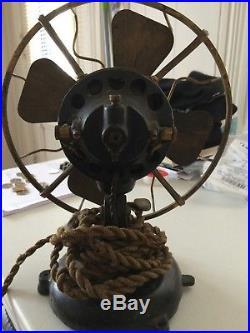 Antique Menominee Tab Base Brass Blade Electric Fan Untouched, original