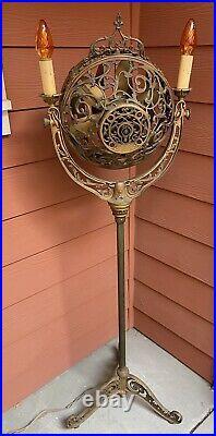 Antique Ornate Nouveau 1920's Victor Luminaire Electric Floor Fan Lamp