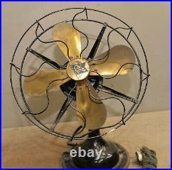 Antique R & M 3804 Robbins & Myers 4 blade brass desk fan 3 speed collectible