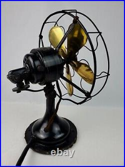 Antique R&M Robbins & Myers Brass 5 blade 10 Desk Fan 3-Speed Oscillating Works