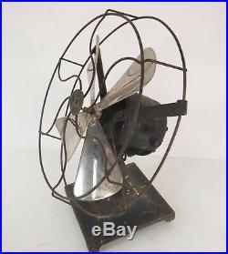 Antique Rare Pittsburgh Type G-8 Fan Art Deco Desktop Metal Cast Iron & Chrome