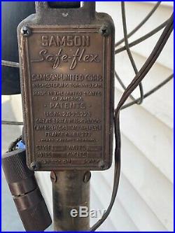 Antique Rare Samson Safe-Flex Floor oscillating Art Deco Style Fan