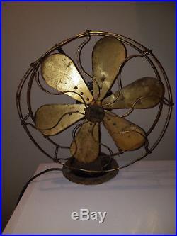 Antique Robbins Myers 6 Brass Blade Fan 16 Inch List No. 2426 HTF Rare USA 3 Spd