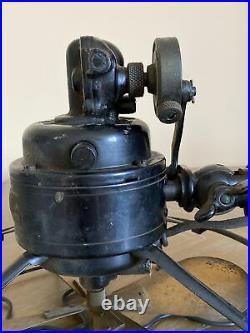 Antique Robbins & Myers Brass Oscillating Fan 3600 Works 3 Speed
