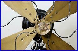 Antique Robbins & Myers Cast Iron 3 Speed Oscillating 16 Brass Blade Fan WORKS