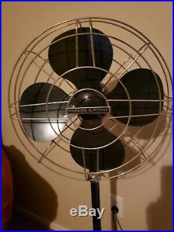 Antique Robbins & Myers Stand Fan adjustable height WORKS