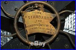 Antique THE STANDARD ROBBINS & MYERS Brass 4 Blade 17 Fan Needs Restoration