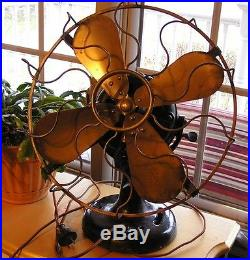 Antique Table Fan Westinghouse 1893 Original 13 Cage Brass Blades Style #60677