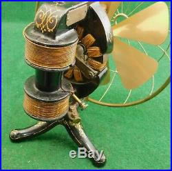 Antique Thomas A. Edison Battery Powered Electric Fan with Blade & Cage Condition