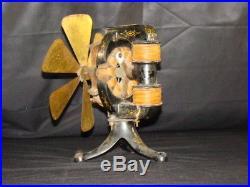Antique Thomas EDISON Electric Fan 6 Brass Blade 1895 Motor early D. C. Original
