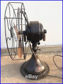Antique VTG 12 Menominee Electric Desk Fan Unique Brass Blade Seldom Seen USA