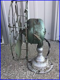 Antique VTG 1906 WESCO SUPPLY 12 ORNATE Brass Electric Fan by EMERSON ELECTRIC