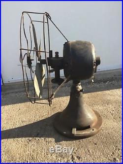 Antique VTG 1920s 12 Peerless Front Oscillator Desk Fan Unique Brass Blade Fan