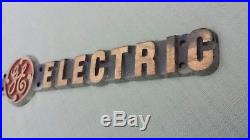 Antique Vintage 18 Inches Brass General Electric Ge Rare Sign Plaque Name Plate