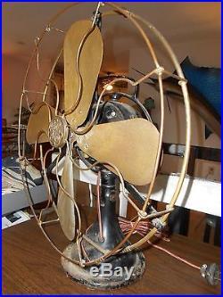 Antique Vintage 4 Brass 16 Blade & Cage General Electric GE Electric Fan Works