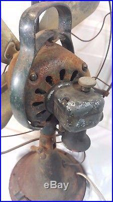 Antique Vintage 4 Brass Blade General Electric GE Pancake Fan Works! 17'' cage